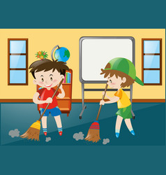 Two boys sweeping classroom floor vector