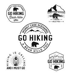 Vintage hiking logos mountain adventure badges vector