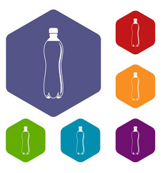 Water bottle icons set hexagon vector