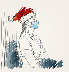 woman in santa hat and medical face mask standing vector image