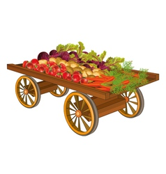 Wooden cart with harvest of vegetables vector image