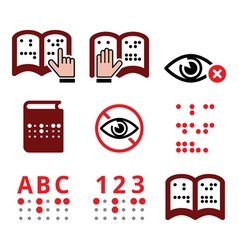 Blind people Braille writing system icon set vector image