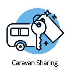 caravan sharing community sharing economy concept vector image vector image