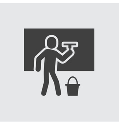 Cleaning man icon vector image vector image