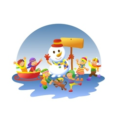 cute kids playing winter games vector image vector image