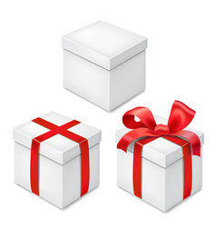 gift boxes with red ribbon and bow realistic set vector image vector image