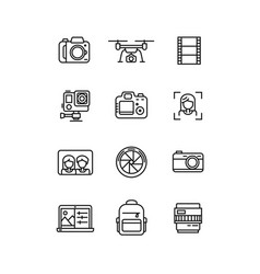 line video and photo production camera icon vector image vector image