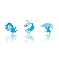 splashing waves and water second set icons vector image