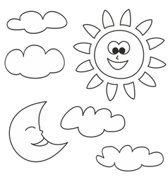Sun moon and clouds - weather cartoon icons set vector image vector image