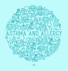 asthma and allergy concept in circle vector image vector image