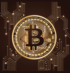 bitcoin coin on a brown background vector image