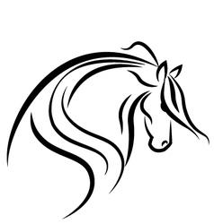 Horse stylized swoosh vector image vector image