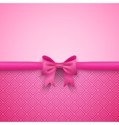 Romantic pink background with cute bow and pattern vector image