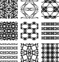 Set of black and white abstract geometric seamless vector image