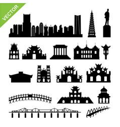 vietnam hanoi landmark and skyline silhouettes vector image