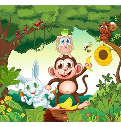 A group of happy animals at the forest vector image vector image