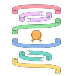 Flat ribbon set with badge vector image