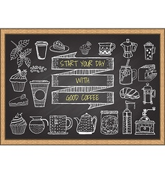 hand drawn coffee elements on chalkboard vector image
