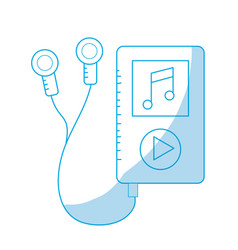 Line mp3 with headphones to listen and play music vector
