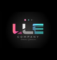lle l l e three letter logo icon design vector image vector image