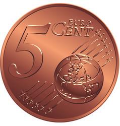 money bronze coin five euro cent vector image vector image