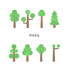 set of simple trees flat trees isolated on white vector image vector image