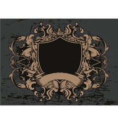 shield with floral and grunge vector image vector image