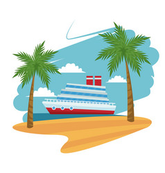 travel cruise ship passenger sea beach palm design vector image vector image