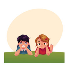 two caucasian kids children lying on grass under vector image