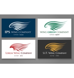 Winged logo company card set business label with vector image vector image