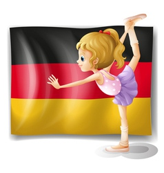 A ballet dancer in front of the flag of Germany vector image