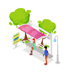 city public transport stop isometric 3d icon vector image vector image