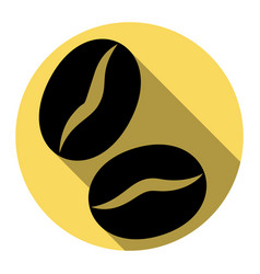 coffee beans sign flat black icon with vector image