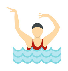 dancing figure in a swimming pool icon flat style vector image vector image