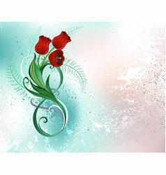 eight with red tulips vector image vector image