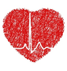 heart scribble with heart beat eps 8 vector image