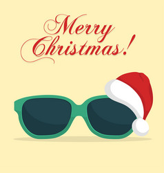 sunglasses with santa klaus hat vector image vector image