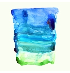 Ultramarine blue and green watercolor background vector image