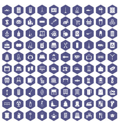 100 housework icons hexagon purple vector