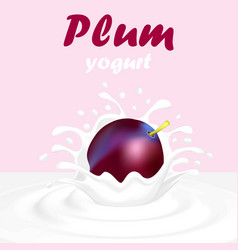 A splash of yogurt from a falling plum and a drop vector