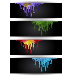 Abstract colorful paint runs vector image
