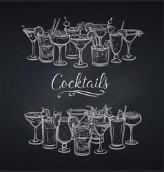 alcoholic cocklails banner chalkboard vector image