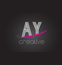 ay a y letter logo with lines design and purple vector image