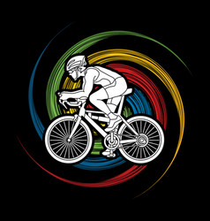 bicycle racing sport man biking vector image