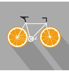 Bicycle with orange fruit wheels Flat icon vector