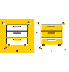 Black furniture nightstand icon isolated on yellow vector