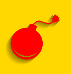 bomb sign red icon with soft vector image