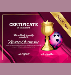 bowling certificate diploma with golden cup vector image
