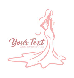 Bridal wear logo wedding gown dress boutique icon vector