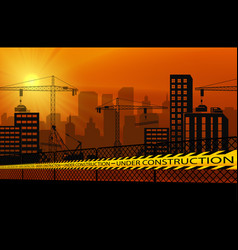 buildings with cranes and under construction cauti vector image